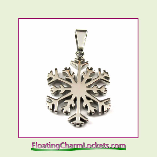 Stainless Steel Pendant - Snowflake (Silver) - 25x25mm