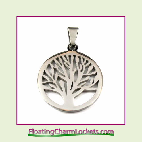 Stainless Steel Pendant - Tree of Life (Silver) - 26x26mm