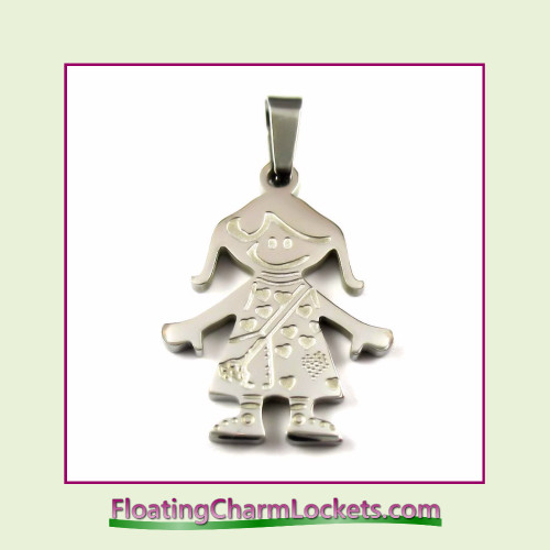 Stainless Steel Pendant - Girl (Silver) - 19x26mm