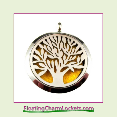 Diffuser Locket - Tree of Life - 30mm Round Stainless Steel (No Chain)