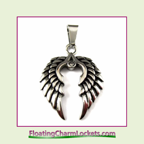 Stainless Steel Pendant - Double Angel Wings (Silver) - 25x27mm