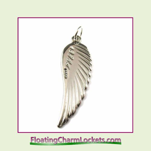 O-Ring Charm:  Angel Wing 11x25mm Stainless Steel