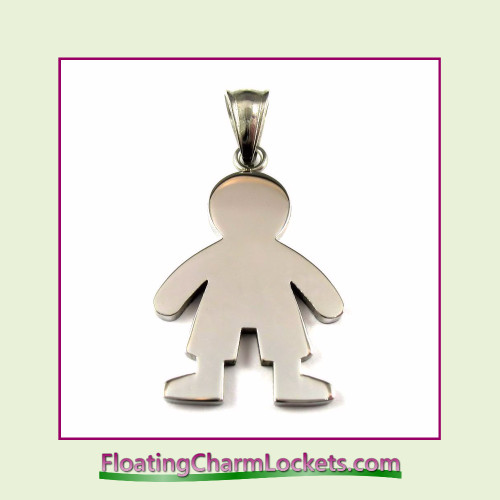 Stainless Steel Pendant - Boy (Silver) - 20x32mm.
