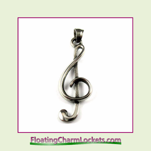 Stainless Steel Pendant - Music Clef (Silver) - 15x37mm