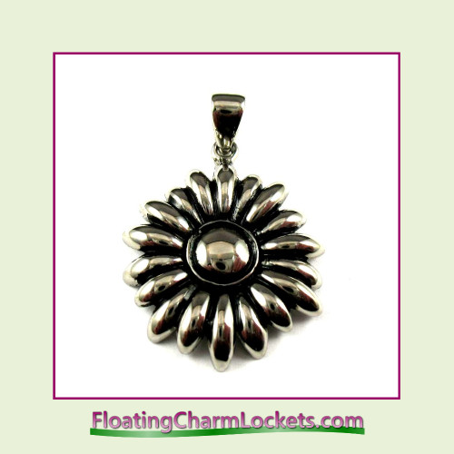 Stainless Steel Pendant - Flower (Silver) - 27mm