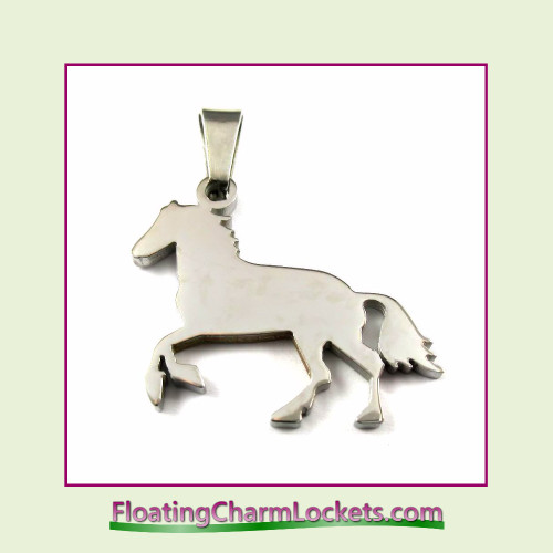 Stainless Steel Pendant - Horse (Silver) - 27x21mm