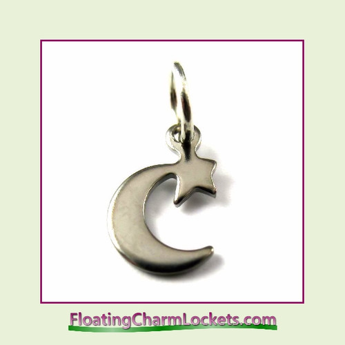 Mini O-Ring Charm:  Moon and Star 7x11mm Silver Stainless Steel