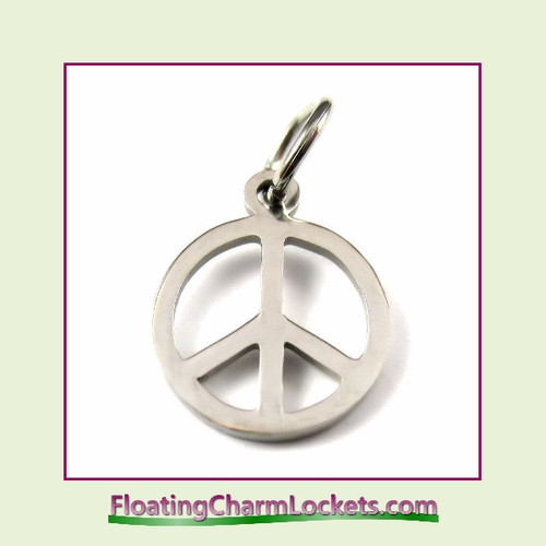 Mini O-Ring Charm:  Peace Symbol 12mm Silver Stainless Steel