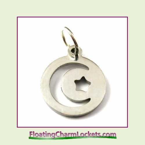 Mini O-Ring Charm:  Moon and Star Round 12mm Silver Stainless Steel