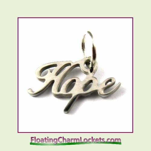 Mini O-Ring Charm:  Hope Letters 14x9mm Silver Stainless Steel