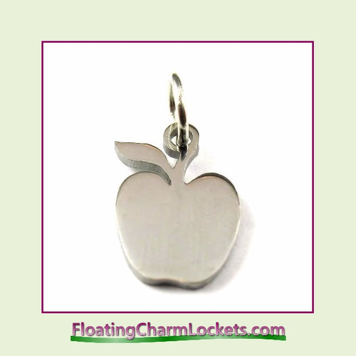 Mini O-Ring Charm:  Apple 11x13mm Silver Stainless Steel