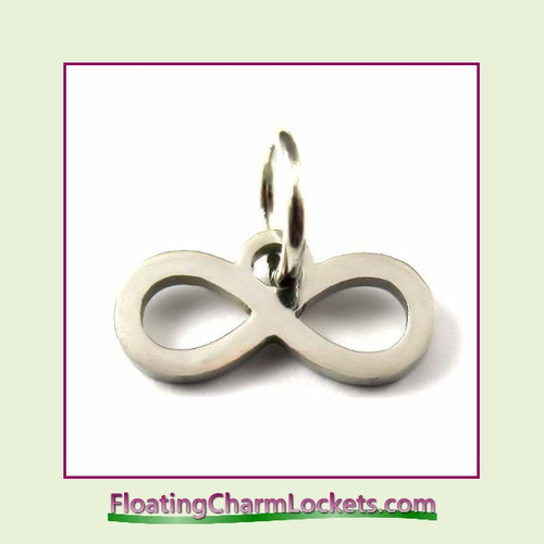 Mini O-Ring Charm:  Infinity Symbol 12x6mm Silver Stainless Steel