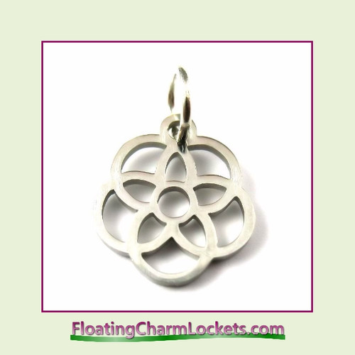 Mini O-Ring Charm:  Flower in Flower 12mm Silver Stainless Steel