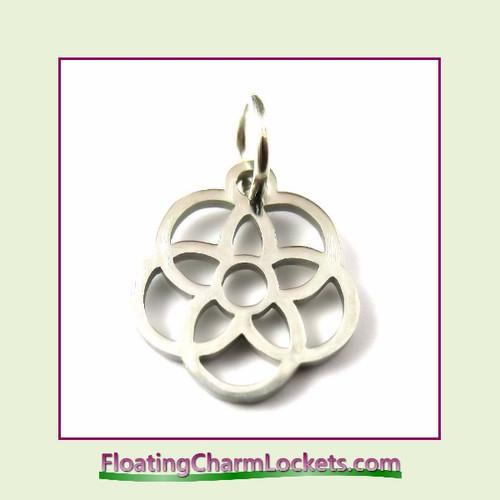 Mini O-Ring Charm:  Flower in Flower 12mm Silver Stainless Steel