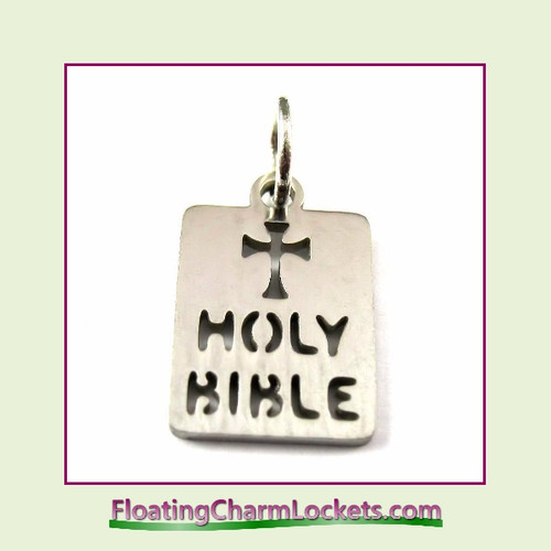Mini O-Ring Charm:  Holy Bible 10x14mm Silver Stainless Steel
