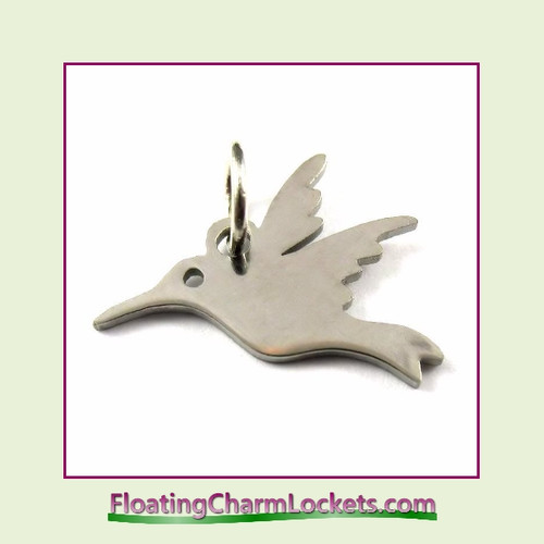 Mini O-Ring Charm:  Hummingbird 13x16mm Silver Stainless Steel