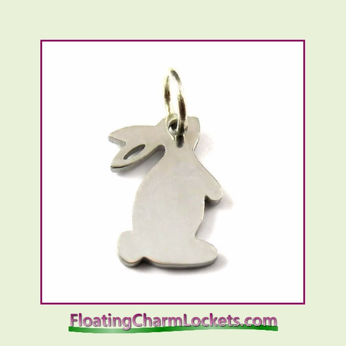 Mini O-Ring Charm:  Bunny 13x14mm Silver Stainless Steel