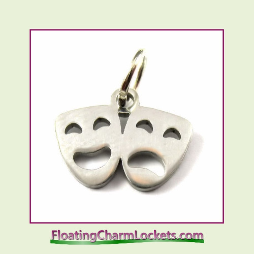 Mini O-Ring Charm:  Drama Masks 13x10mm Silver Stainless Steel