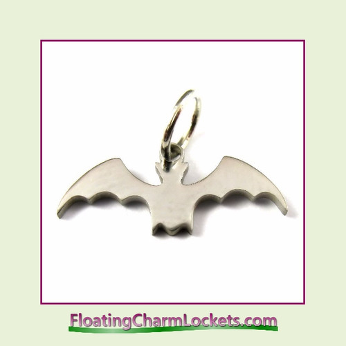 Mini O-Ring Charm:  Halloween Bat 18x8mm Silver Stainless Steel