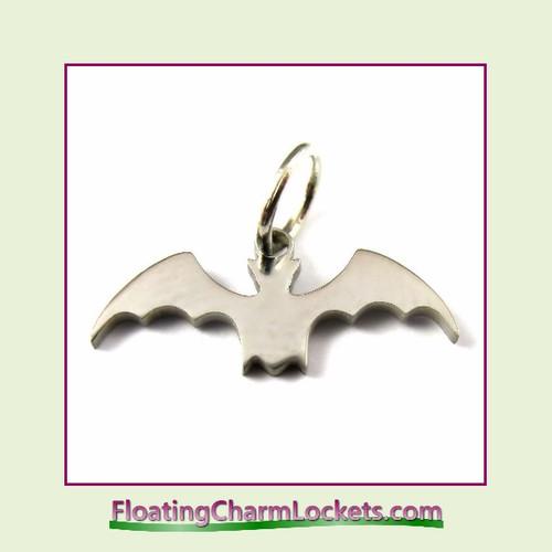 Mini O-Ring Charm:  Halloween Bat 18x8mm Silver Stainless Steel