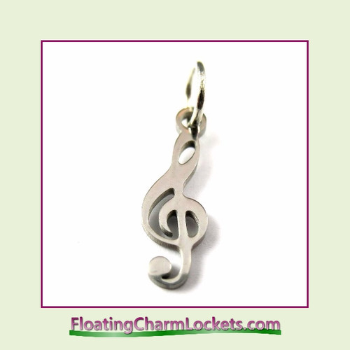 Mini O-Ring Charm:  Music Clef 5x16mm Silver Stainless Steel