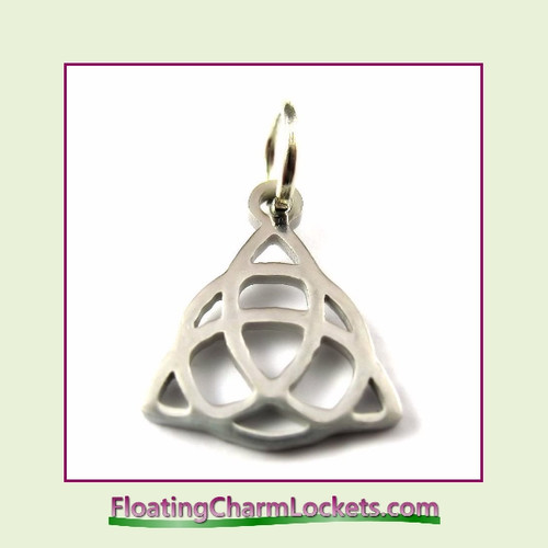 Mini O-Ring Charm:  Celtic Knot 12x14mm Silver Stainless Steel