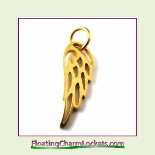 Mini O-Ring Charm:  Gold Angel Wing 6x16mm Stainless Steel