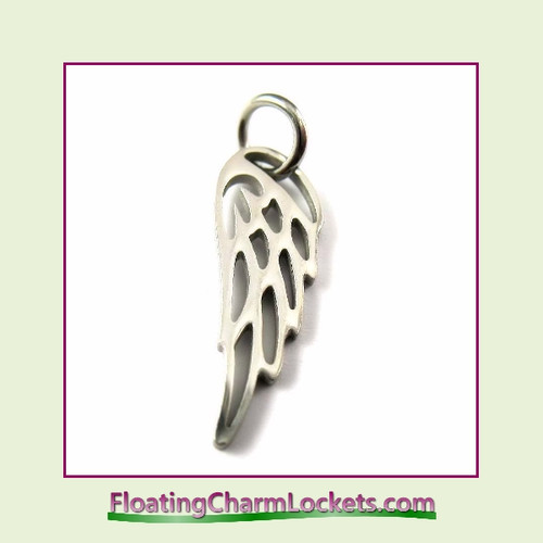Mini O-Ring Charm:  Silver Angel Wing 6x16mm Stainless Steel