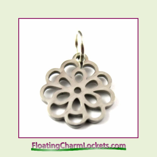 Mini O-Ring Charm:  Flower 13mm Silver Stainless Steel