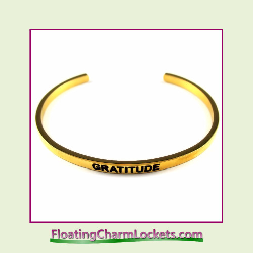 Stainless Steel 3mm Cuff Bangle Bracelet - Gratitude (Gold)