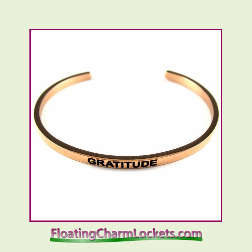Stainless Steel 3mm Cuff Bangle Bracelet - Gratitude (Rose)