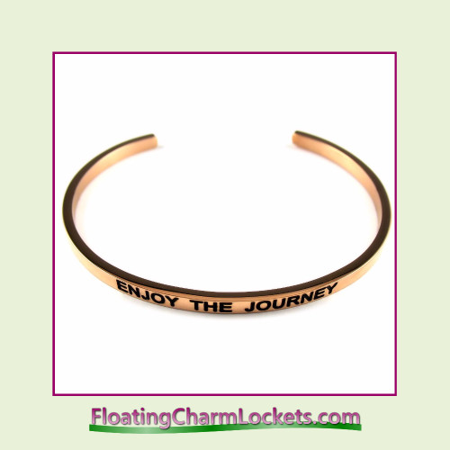 Stainless Steel 3mm Cuff Bangle Bracelet - Enjoy The Journey (Rose)