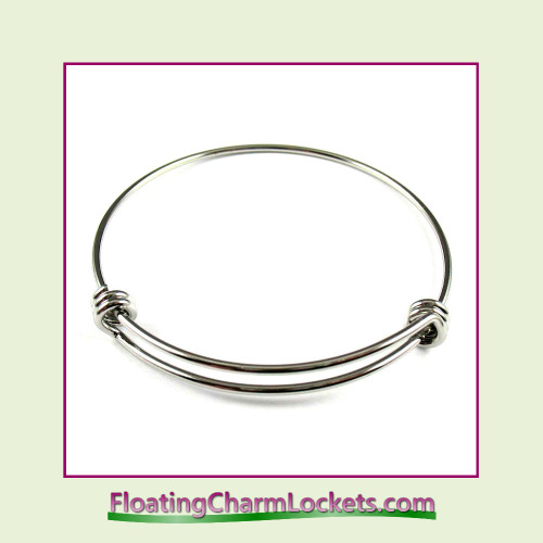Bangle Bracelet for Charms - 2mm Thick (Silver) Stainless Steel