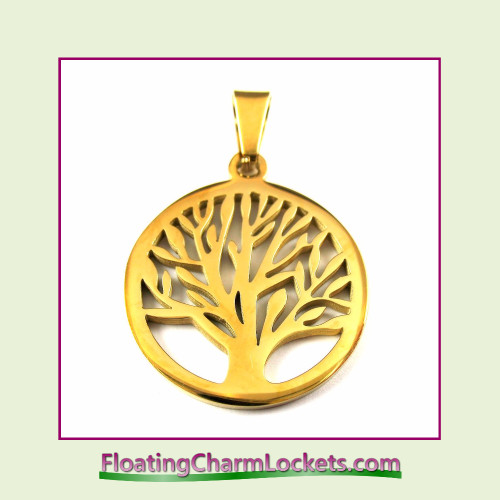 Stainless Steel Pendant - Tree of Life (Gold) - 26x26mm