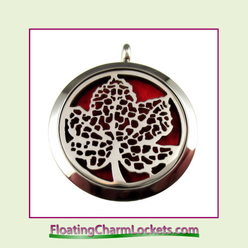 Aromatherapy Diffuser Locket - Fall Leaf - 30mm Round Stainless Steel (No Chain)