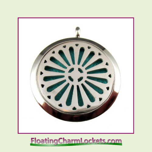 Aromatherapy Diffuser Locket - Flower - 30mm Round Stainless Steel (No Chain)