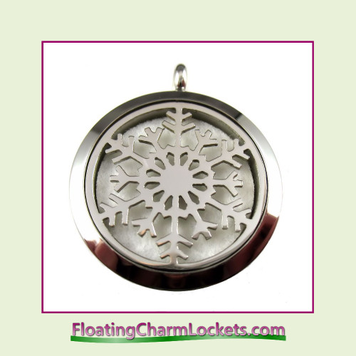 Aromatherapy Diffuser Locket - Snowflake - 30mm Round Stainless Steel (No Chain)
