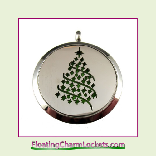Aromatherapy Diffuser Locket - Christmas Tree - 30mm Round Stainless Steel (No Chain)
