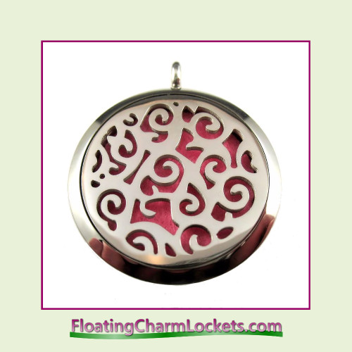 Aromatherapy Diffuser Locket - Swirl Pattern - 30mm Round Stainless Steel (No Chain)