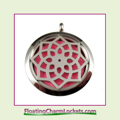 Aromatherapy Diffuser Locket - Geometric Flower - 30mm Round Stainless Steel (No Chain)