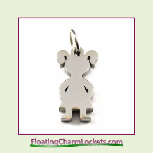 Mini O-Ring Charm:  Girl #2 - 9x16mm Silver Stainless Steel