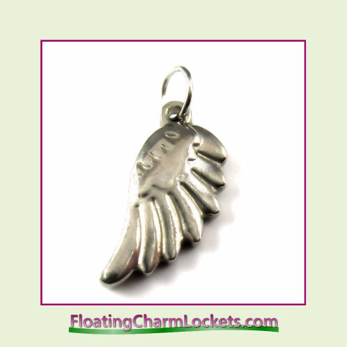 O-Ring Charm:  Angel Wing #1 - 10x20mm Stainless Steel