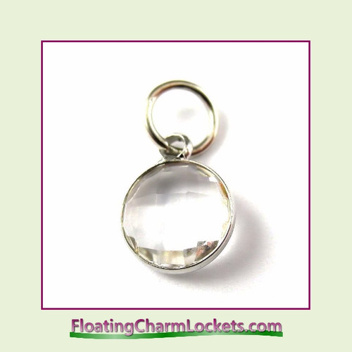 O-Ring Charm:  9mmR-04 April Birthstone Channel Charm Silver Stainless Steel