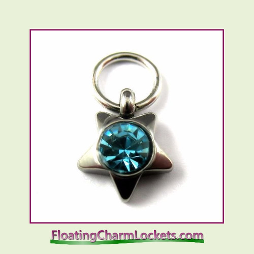 O-Ring Charm:  8mmS-03 March Star Birthstone Charm Stainless Steel