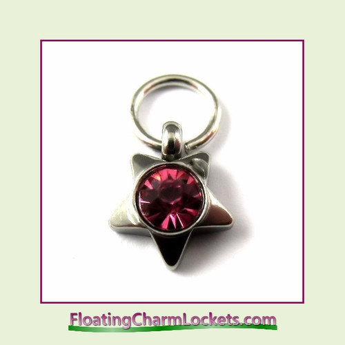 O-Ring Charm:  8mmS-10 October Star Birthstone Charm Stainless Steel