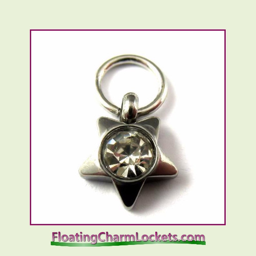 O-Ring Charm:  8mmS-04 April Star Birthstone Charm Stainless Steel