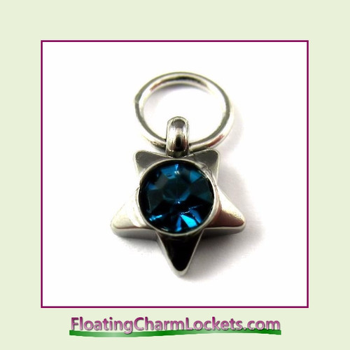 O-Ring Charm:  8mmS-12 December Star Birthstone Charm Stainless Steel