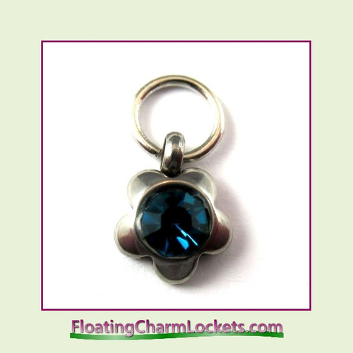 Charm:  8mmF-12 December Flower Birthstone Charm Stainless Steel