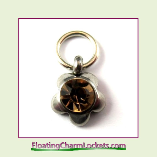 O-Ring Charm:  8mmF-11 November Flower Birthstone Charm Stainless Steel