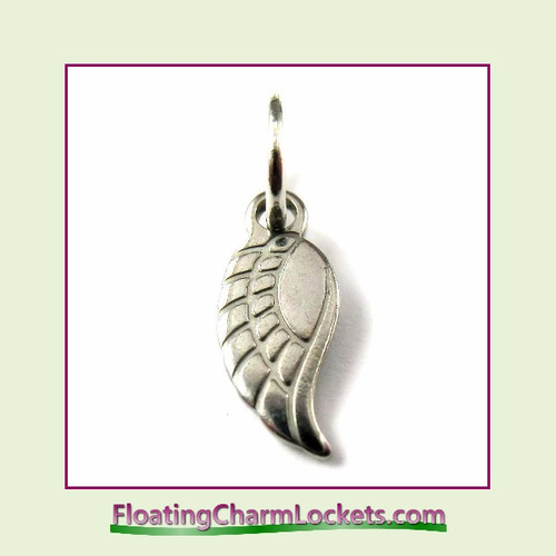 Mini O-Ring Charm:  Angel Wing 5x12mm Stainless Steel